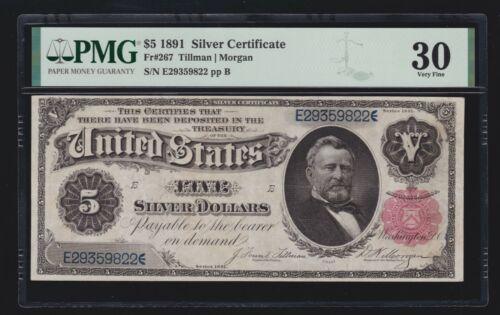 US 1891 $5 Grant Silver Certificate FR 267 PMG 30 Ch VF (822)