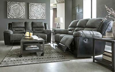 Modern Living Room Furniture Gray Fabric Reclining Sofa Couch Loveseat Set IF11