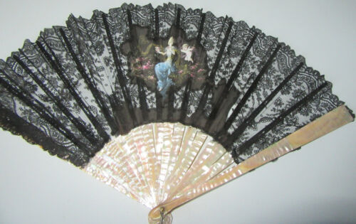 Antique Folding Fan MOP Mother of Pearl Hand Painted Lady w Cherub