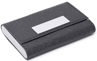 Slim Black Saffiano Leather Double Sided Business Card Holder