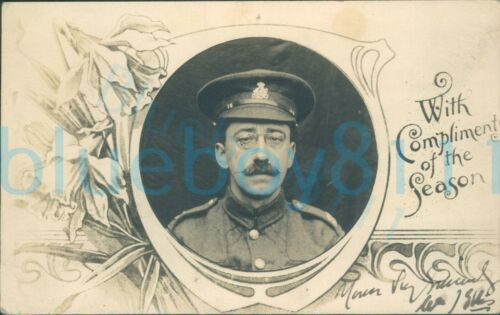 WW1 Army Pay Corps Soldier studio photo withing Christmas greetings motif photo