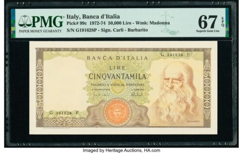 Italy 50,000 Lire Banknote 1972-74 Pick# 99c PMG Gem UNC 67 EPQ RARE