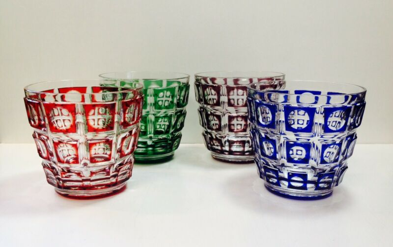 4 Ajka Red Blue Green Purple Cut To Clear Crystal DOF Whiskey Glasses