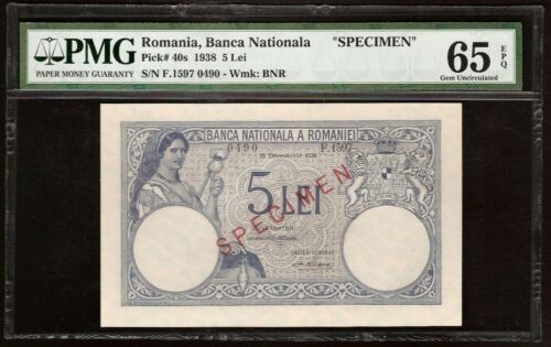 ROMANIA 5 LEI 1938 P:40s UNC