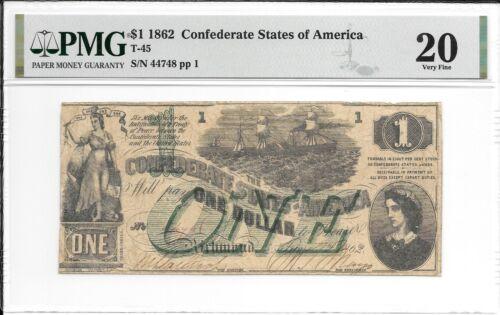 T45 PF-2 1862 $1 Confederate States of America CSA S/N 44748 PMG 20