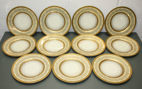 """(11) Pickard 11"""" Dinner Plate/Charger Set P401-12, Gold Encrusted Hand Decorated"""