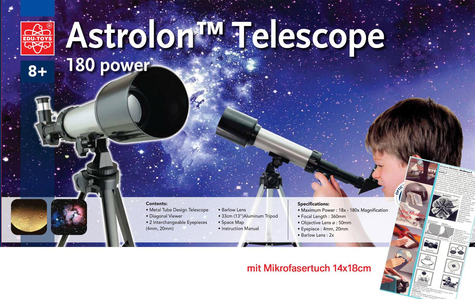Refraktor Teleskop 18-180fache Vergr. Kinderteleskop + Linsentuch aus Mikrofaser