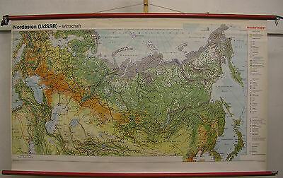 Schulwandkarte Wall Map Asian Nordasien USSR Russia Economy 1977 165x98cm