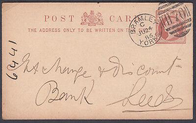 1886 Bramley/Yorks H70 duplex: Bank Leeds; QV Stationery Postcard