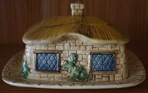 SYLVA C MADE IN ENGLAND COTTAGE FORM BUTTER / CHEESE DISH w STICKER
