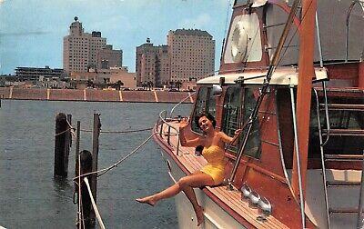 Pretty Lady On Vtg Boat Yacht Harbor Scene Corpus Christi,TX Vtg 1963 Postcard
