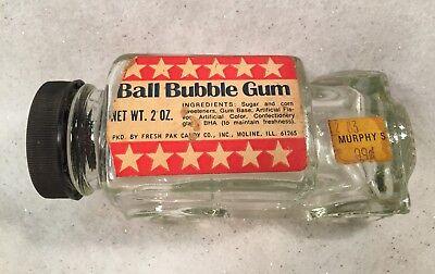 Vintage Fresh Pak Candy Co. BALL BUBBLE GUM Glass Car Container