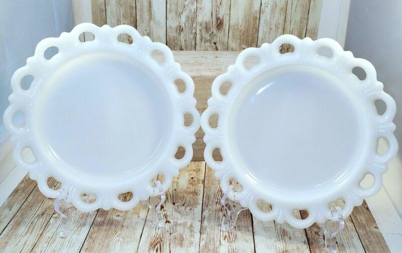 """2 Vintage Anchor Hocking White Milk Glass 8 1/4"""" Lace Edge Dessert Under Plates"""