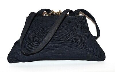 1940s Handbags and Purses History Vintage 1940s Lurette Corde Black Swirled Striped Kisslock Clasp 2 Strap Handbag $27.99 AT vintagedancer.com