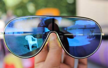 Genuine Police Sunglasses Blue Flash Mirror Lens with Police Case