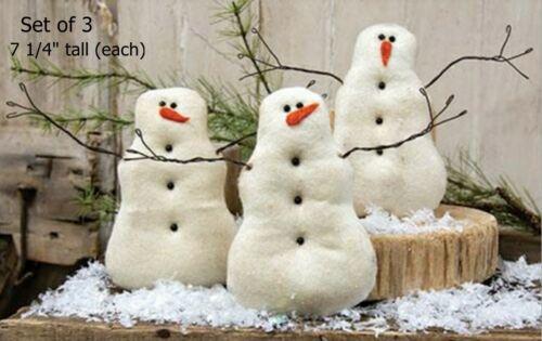 "Primitive Tea Stained Snowmen Dolls - set of 3 - 7 1/4"" Tall - Christmas Décor"