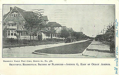 Brooklyn Ny Flatbush Residential Avenue G  East Of Ocean Ave  1907 P C