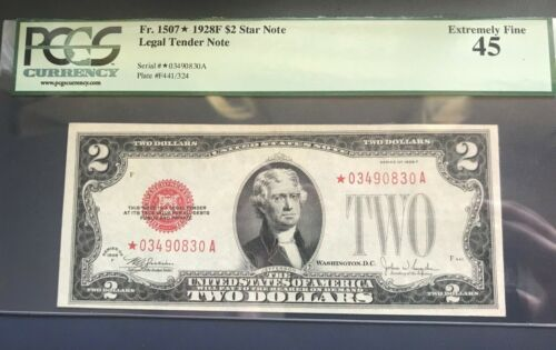 1928-F. $2.  STAR Us legal tender note  red seal