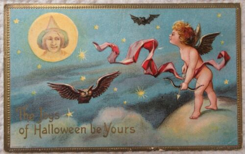 Halloween card-1910-witch, owls, cherub, Embossed - FREE SHIPPING