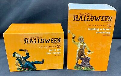 2 Faces Halloween (Dept 56 Halloween Lot of 2 - Building a Better Mousetrap & Pie in the Face)