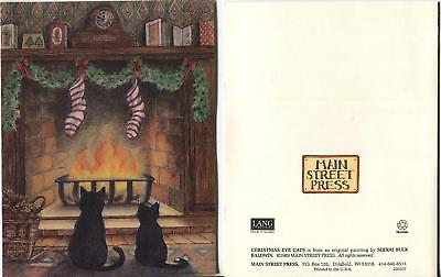 1 VINTAGE CHRISTMAS BLACK CATS KITTEN FIREPLACE GARLAND CLOCK STOCKING NOTE CARD