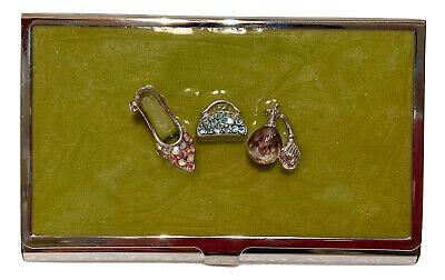 Fashion Diva Bejeweled Relief On Green Enamel Metal Business Card Holder