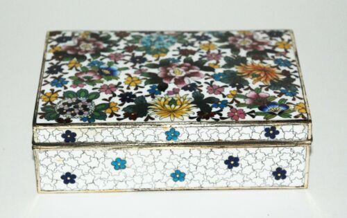 Japanese Cloisonne Enamel Box with Floral Designs - Inaba Workshop - Pristine!