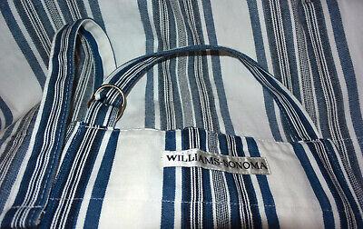 WILLIAMS SONOMA Striped Apron Kitchen Gourmet Chef Cotton Blue White * fast ship Blue Kitchen Apron