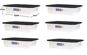 6 x 32l clear plastic underbed storage box stack with lid - Boite de rangement plastique sous lit ...