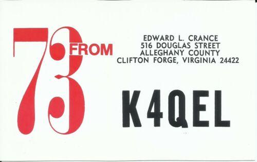Vintage K4QEL Clifton Forge Virginia USA 1988 Amateur Radio QSL Card