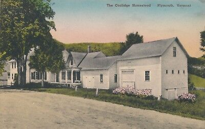 "Vintage ""The Coolidge Homestead"" Plymouth, Vermont Hand Tinted Postcard"