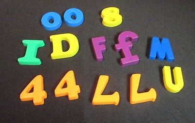 Lot of 13 Magnetic Plastic Numbers and Letters - Plastic Magnetic Letters