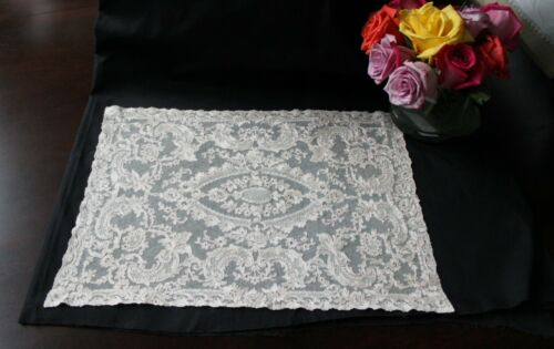 Vtg Antique French Lace Embroidered Net Table Mat Placemat c1900