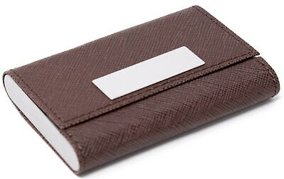 Slim Saffiano Brown Leather Double Sided Business Card Holder