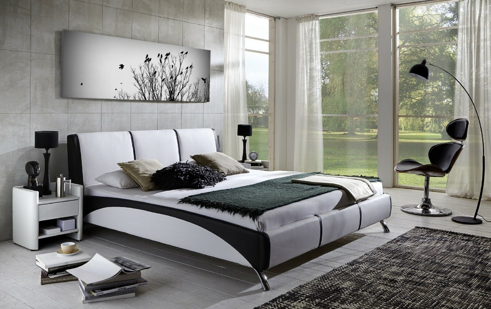 xxl panorama leinwand 155x50 natur bild baum v gel schwarz. Black Bedroom Furniture Sets. Home Design Ideas