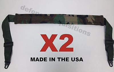 Set of 2 Military Tactical Padded Sling Shoulder Strap Woodland Camo HK Clips US