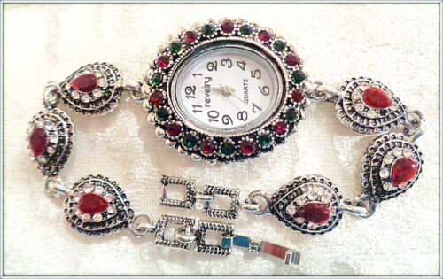 ANTIQUE SILVER RUBY EMERALD TURKISH JEWELRY LADY