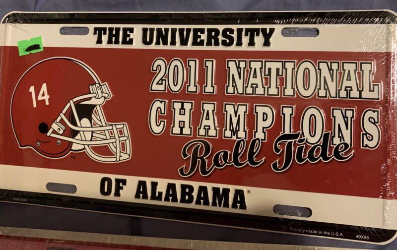 New Alabama Crimson Tide 2011 Championship Metal License Plate Car Tag