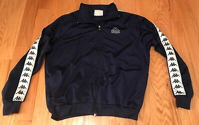 Vintage Kappa Navy Blue Full Zip Track Jacket Mens. Size Large. Very Comfortable