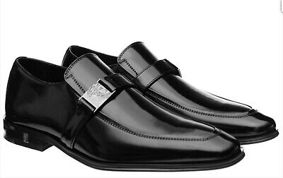 VERSACE COLLECTION Medusa Leather Shoes Loafers Suit 9/43 Black Leather RRP £349