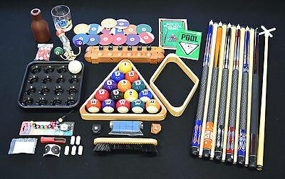 Top Pool Table Billiards Accessory Kit Pool Cue Sticks Bridge Ball Tray Rack Set