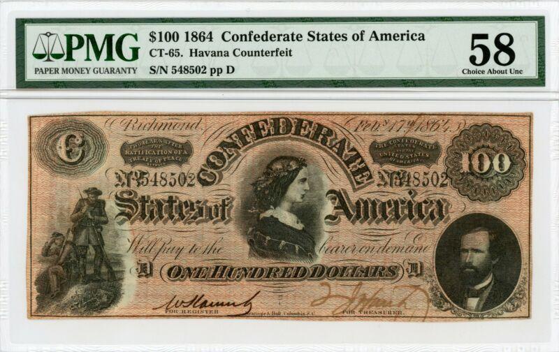 1864 CT-65 $100 Confederate States of America CTFT. Note - CIVIL WAR Era PMG 58