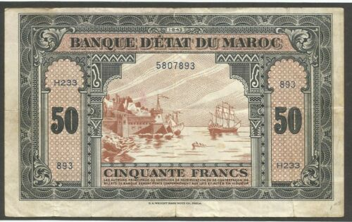 Morocco 50 Francs 1943; F+; P-26a, S/B-1503a; Sailing ship,WWII issue; USA print