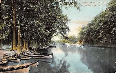 Syracuse New York~Rowboats Along Seneca River Outlet~Rickety Bridge~1908 PC