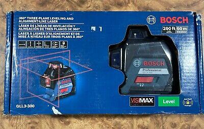 New Bosch 360 200 Ft. Self Leveling 3 Plane Cross Line Red Laser Level Gll3-300