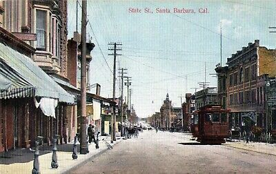 Vtg Santa Barbara CA Post Card State St Trolley Horse Carriage Bicycle (State St Santa Barbara)