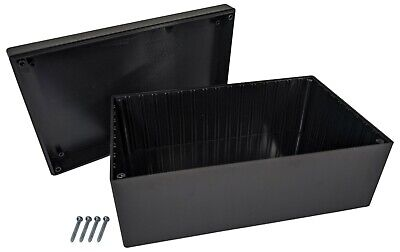 Black Abs Plastic Enclosure Project Box With Lid Screws 8.82 X 5.47 X 3.62