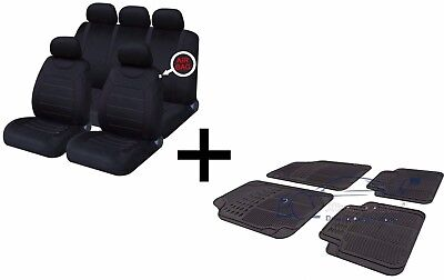 Carnaby Full Black Universal Car Seat Covers Set + Matching Rubber Floor Mats