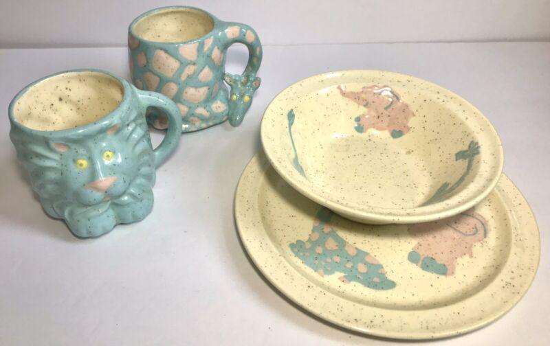 Vintage Speckle Stoneware Childrens Cup Plate Bowl Set Of 4 Safari Lion Giraffe