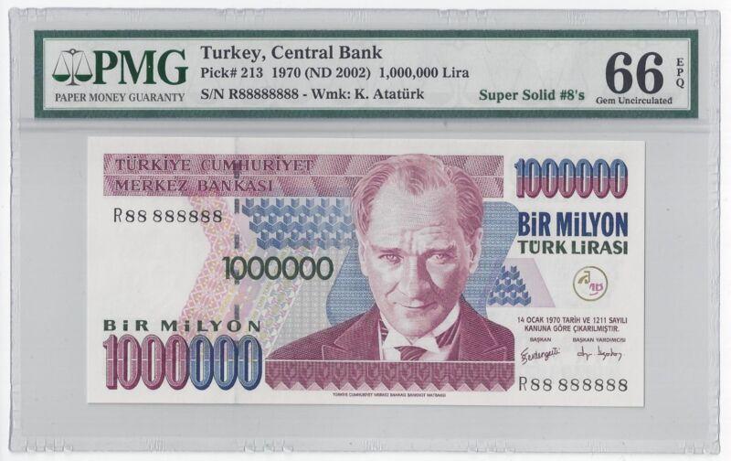 2002 TURKEY 1000000 LIRA  #R88 888888  PMG-66 GEM UNCIRCULATED  SUPER SOLID 8